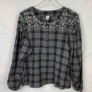 Akemi + Kin Plaid Flannel embellished Pearl Shirt